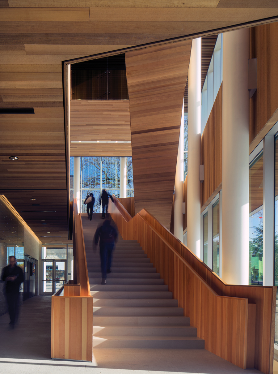 A wood-wrapped stair is an architectural highlight of the Robert H. Lee Alumni Centre. Photo: Nic Lehoux