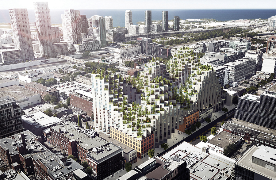 Bjarke Ingels' proposed development in downtown Toronto stacks Habitat-like cubes atop heritage brick warehouses on King Street West.