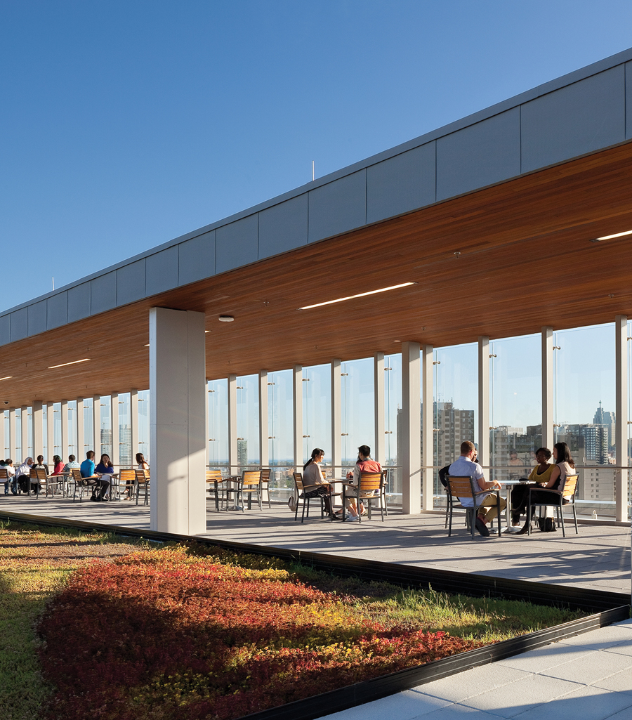 An upper-floor terrace provides generous outdoor space for patients to socialize and test their