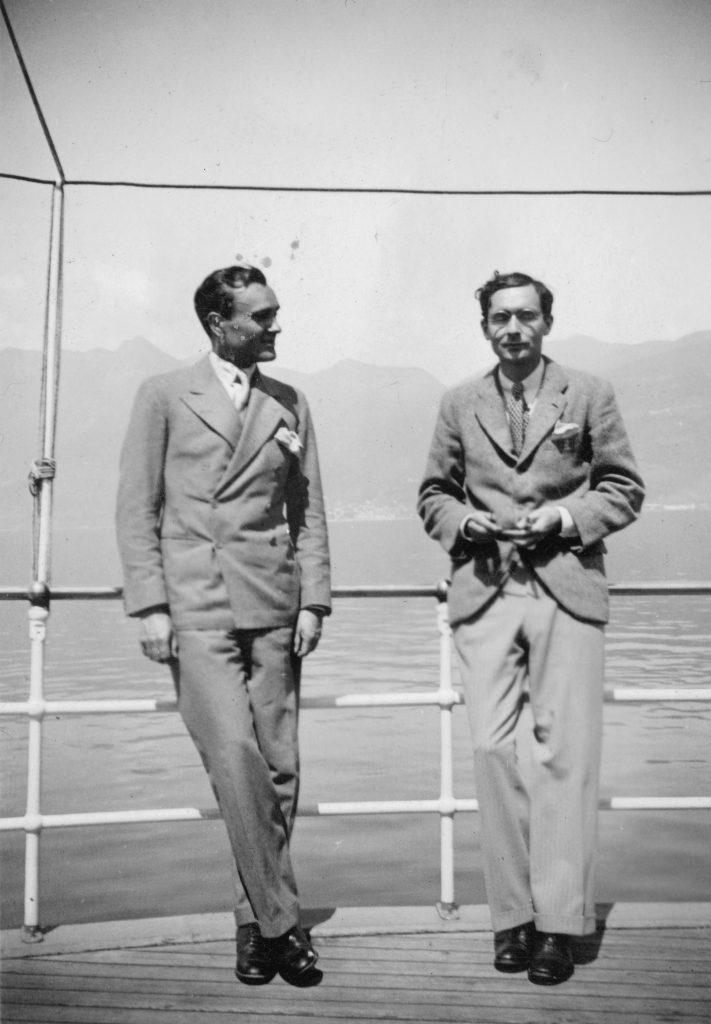 Philip Johnson (left) and Alfred Barr, Lake Maggiore, Switzerland, April 1933. © The Museum of Modern Art / Licensed by SCALA / Art Resource, New York.