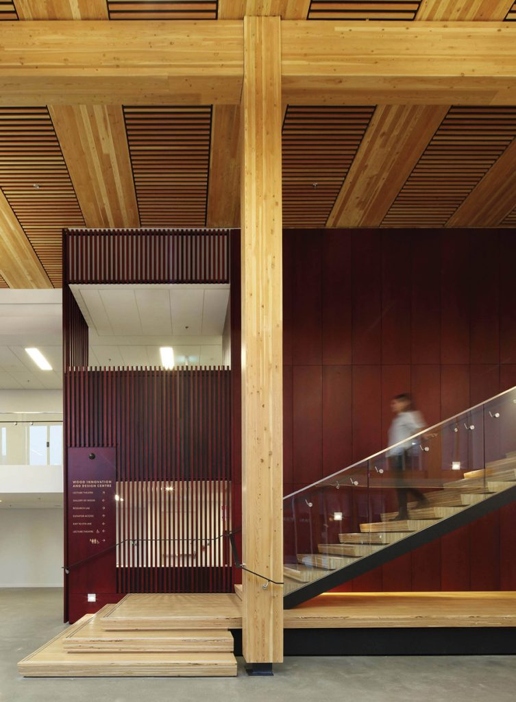 An all-wood approach to construction was used above the ground floor slab, including the panelized ceiling system, and an elevator core and exit stairs made from CLT.