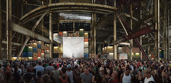 Rendering of Luminato Festival's Music Stage at the Hearn. Courtesy of PARTISANS and Norm Li.