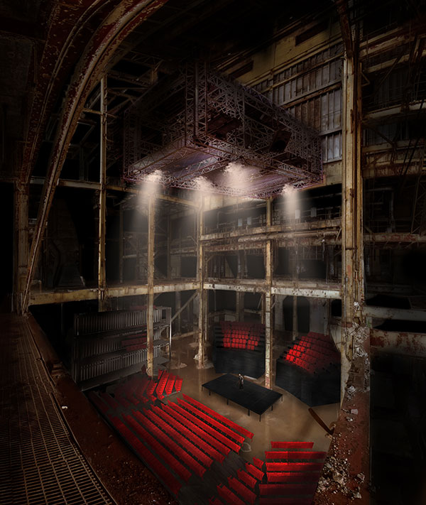 Rendering of Luminato Festival's 1,200 seat Hearn Theatre. Courtesy of PARTISANS and Norm Li.