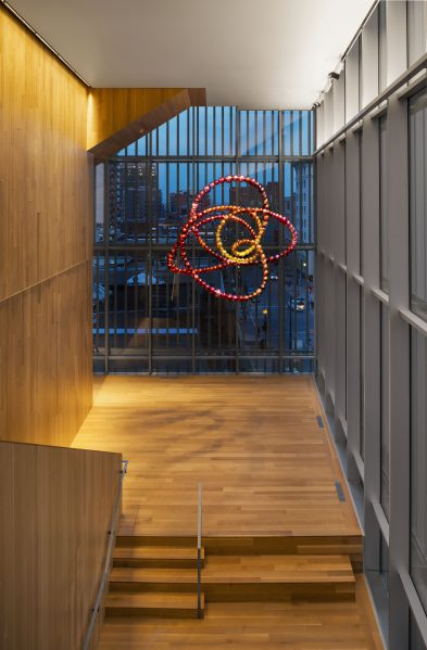 1)Jean-Michel Othoniel's Peony Knot (2015) is installed on Level 3 of the Michal and Renata Hornstein Pavilion for Peace – International Art and Education. Photo MMFA, Denis Farley.