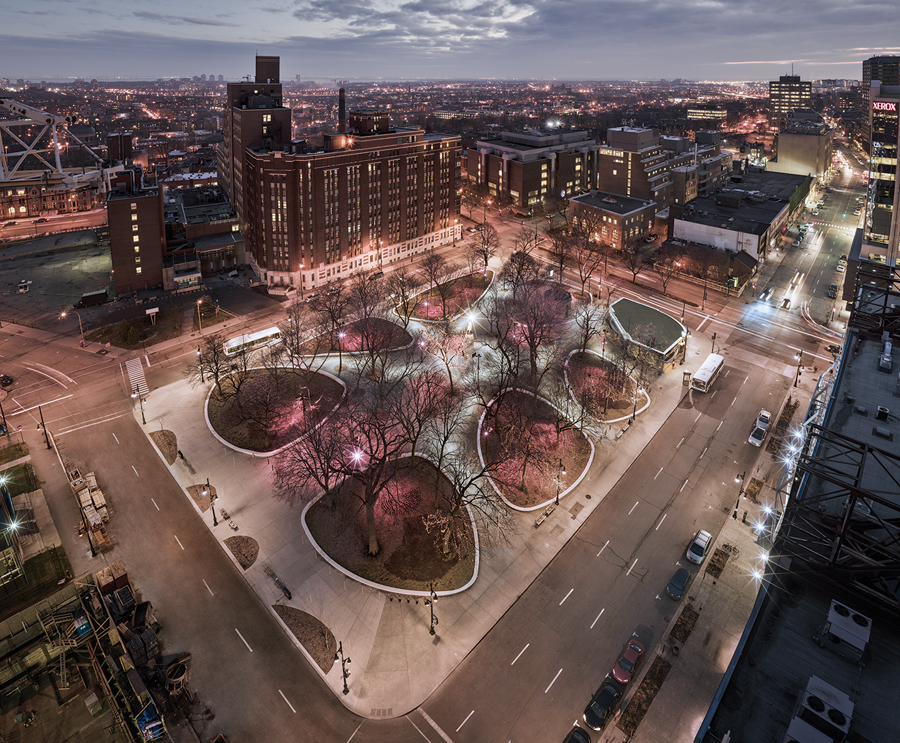 The revamped Cabot Square maintains the circulation pattern of the original plaza while giving it a contemporary feel.