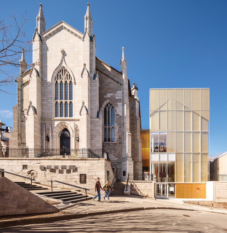 A renovation and addition transform a church in Old Quebec City into a centre for celebrating the province's literary heritage and fostering a new generation of writers.