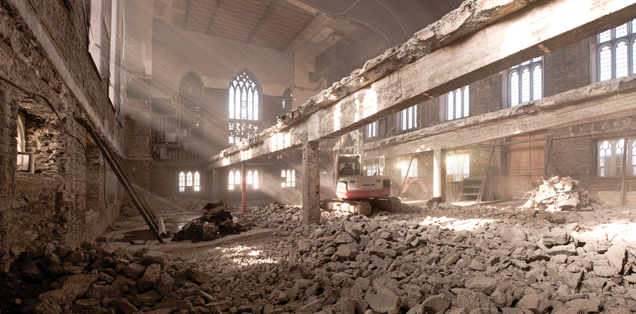 The former church was gutted as part of the renovation. Photo: Chevalier Morales Architectes.