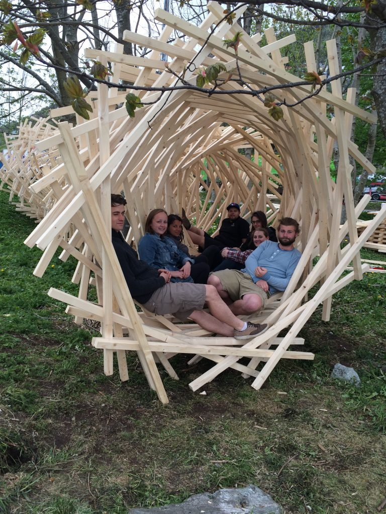 'Metamorphosis' LU Installation 1, with the entire LU team. Photo courtesy of Tammy Gaber.