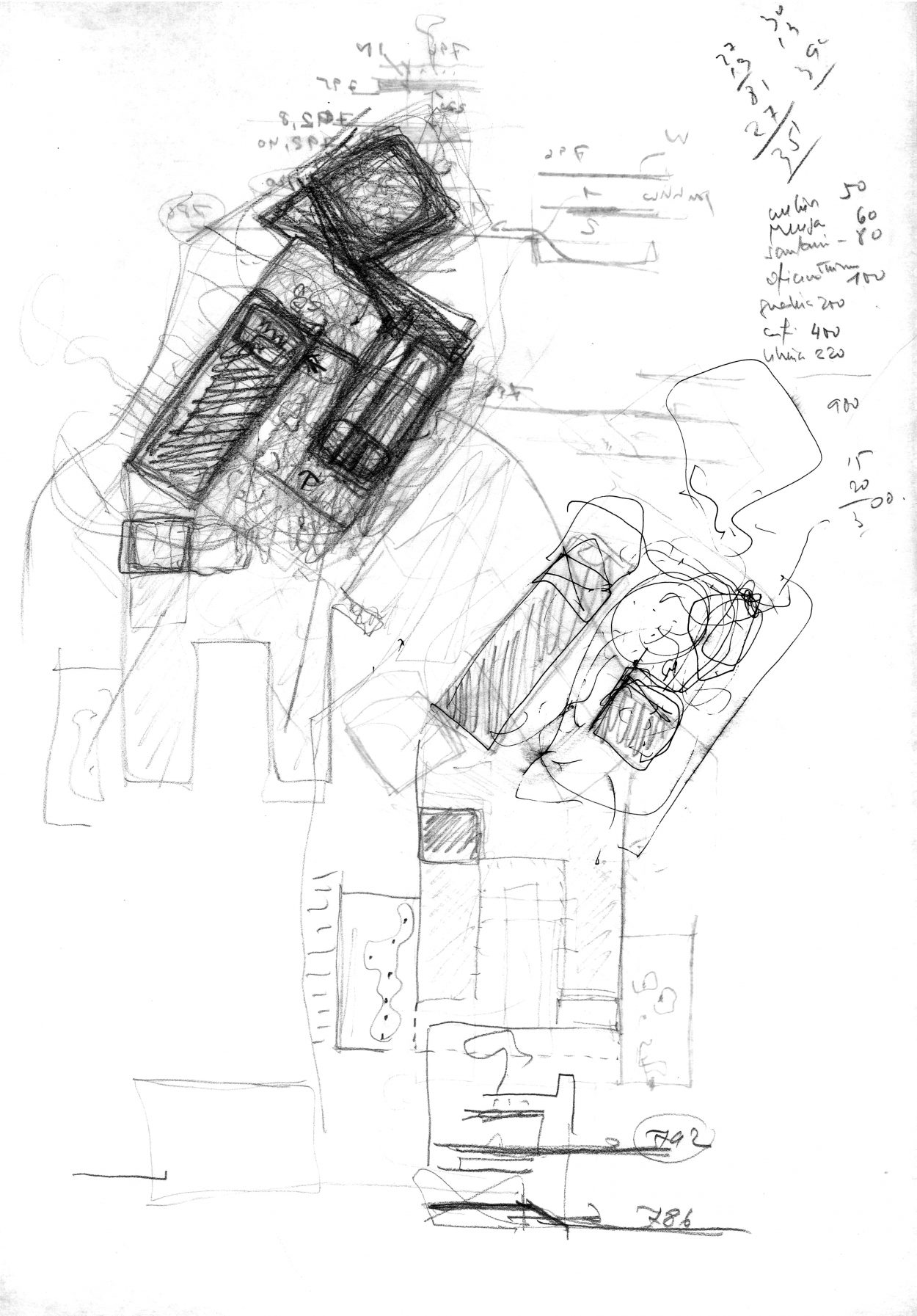"""Elevated Platform"", sketch by Juan Domingo Santos, 2010. Álvaro Siza Archive. From the curator: The working relationship between Álvaro Siza and Spanish architect Juan Domingo Santos was so symbiotic that Siza once signed this sketch as his own, a mistake which he later humbly corrected. It was Santos who had been the one to suggest breaking down the solid structure and opening it up to the Alhambra walls, creating a more permeable courtyard between the garden platforms and the entryway. This became a crucial turning point for the project. They worked together in order to formalize a sort of conceptual pylon (or gateway) toward the square, in the shape of a horseshoe, reminiscent of the Alhambra's ""Gate of the Seven Floors"" — one that had long been sublimated into Siza's volumetric and territorial representation. From a library (1988–95), to a church (1990–97), and now a visitors' centre (2010–20), this modern-day fortress and its evolution served as entry gates to the architect's knowledge, the divine, and the 21st century."
