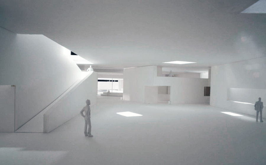 """Study Model of the Interior Space."" Álvaro Siza, 2011. Álvaro Siza Archive. From the curator: The ramped descent into the interior space of Puerta Nueva prepares visitors for the profoundly lyrical experience to come, enabling light to become solid as it rips through the shadows. Here, the contraction and expansion of space is fuelled by a myriad of criss-crossed mezzanines, water pond reflections, and strategically placed wells of light. Light is, in fact, the central character in this architectural underworld, as it is the chief material of the Alhambra, the only substance that truly stands the test of time."