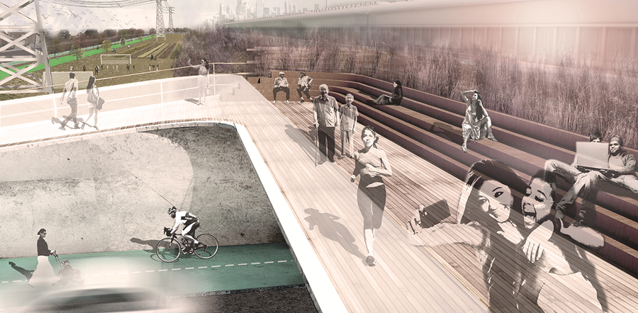 An international ideas competition initiated by Workshop Architecture resulted in a new vision for a linear park along a Toronto hydro corridor. Photo by Workshop Architecture
