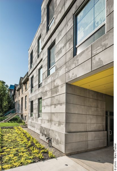 KANVA took a multi-disciplinary role in designing the Edison Residence at McGill University, which includes photo-engraved concrete panels that refer to a historic fire at the site. Photo by Marc Cramer