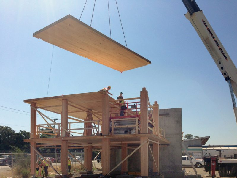 July 2015 erection of mass wood structural mockup. Photo courtesy of Acton Ostry Architects Inc. & University of British Columbia