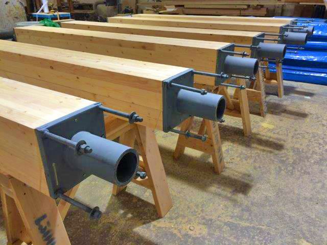 July 2015 glulam columns and steel connectors for mockup. Photo courtesy of Acton Ostry Architects Inc. & University of British Columbia