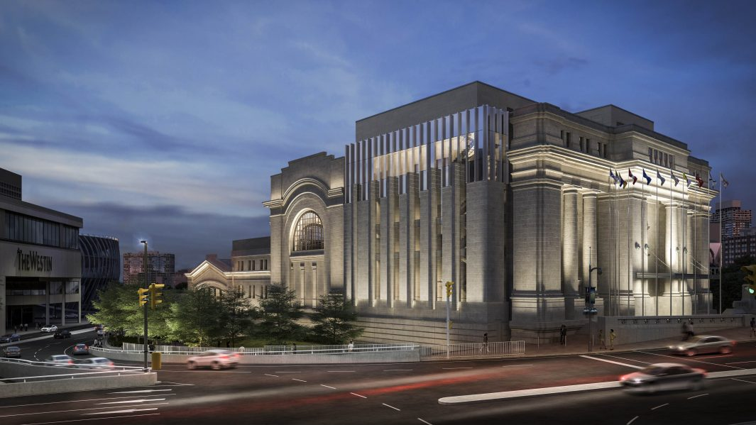 The Senate Project - Dusk View. Image courtesy of Diamond Schmitt Architects