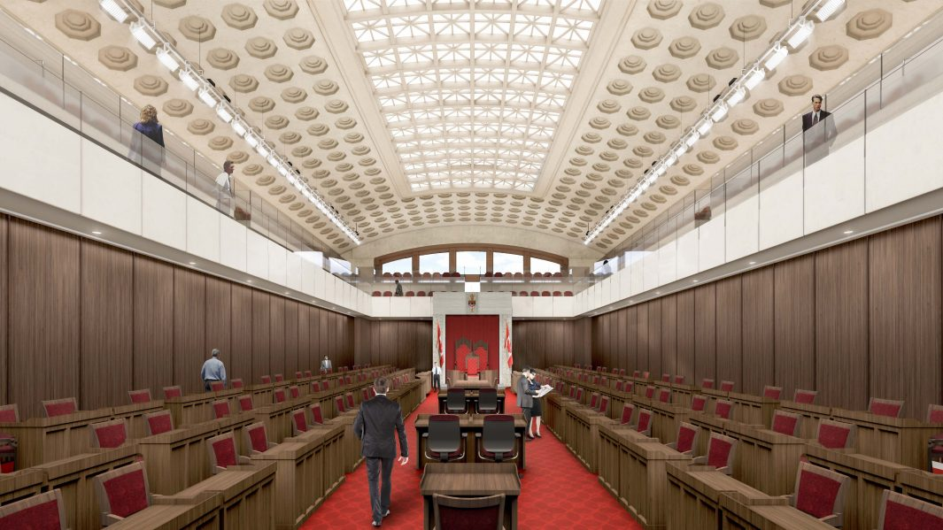 The Senate Project - Senate Chamber. Image courtesy of Diamond Schmitt Architects