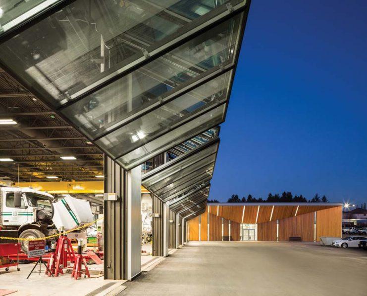 The fleet repair shops incorporate aircraft hangar doors, giving the block a sleek, loft-like feel.