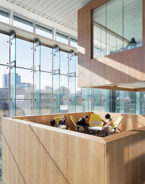 Floating meeting rooms designed by omb include lounge areas on top. Photo by Andrew Latrelle
