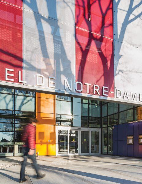 A brightly coloured façade wraps around the new NDG Cultural Centre.