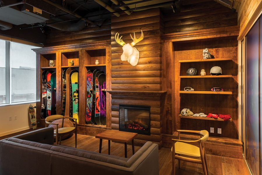 A log cabin room nods to the company's origins as an online store for snow-boarding equipment. Photo by Union Eleven