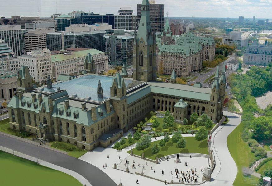 Artist's rendering of the redesigned West Block building and courtyard infill roof
