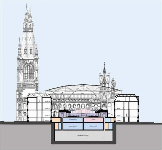 Artist's rendering of a cross-sectional view of the redesigned West Block building, including the House of Commons Chamber