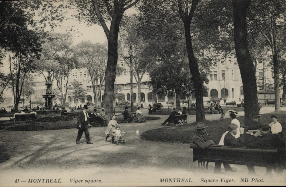Viger square, Montreal, QC, about 1907, Neurdein Frères. (Théberge block). Photo credit: Gift of Mr. Stanley G. Triggs, MP-0000.840.6. © McCord Museum