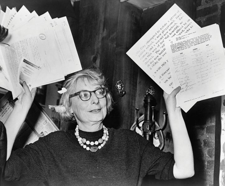 Jane Jacobs holds up documentary evi-dence to contest the Lower Manhattan Expressway at a press conference in New York in 1961. Hil Stanziola for New York World Telegram