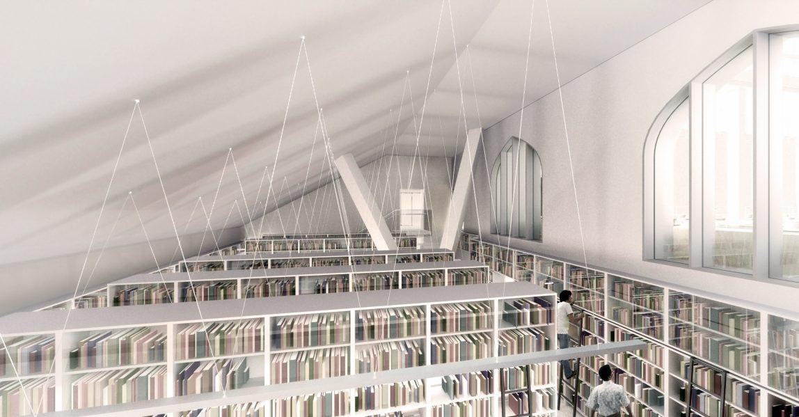 Eberhard Zeidler Library. Rendering by NADAAA