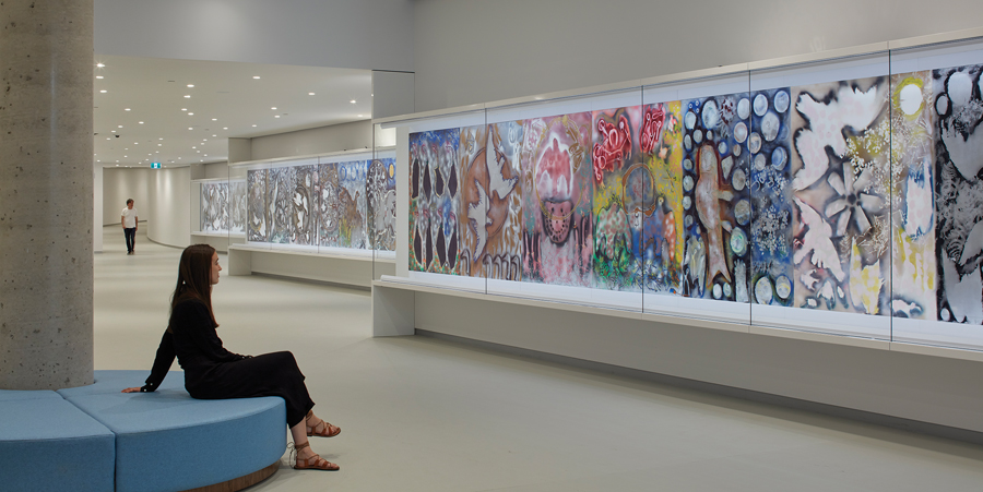 Jean-Paul Riopelle's 40-metre-long triptych Hommage à Rosa Luxembourg is displayed in its entirety in a tunnel connecting the pavilion to the historic museum buildings. Photo by Bruce Damonte