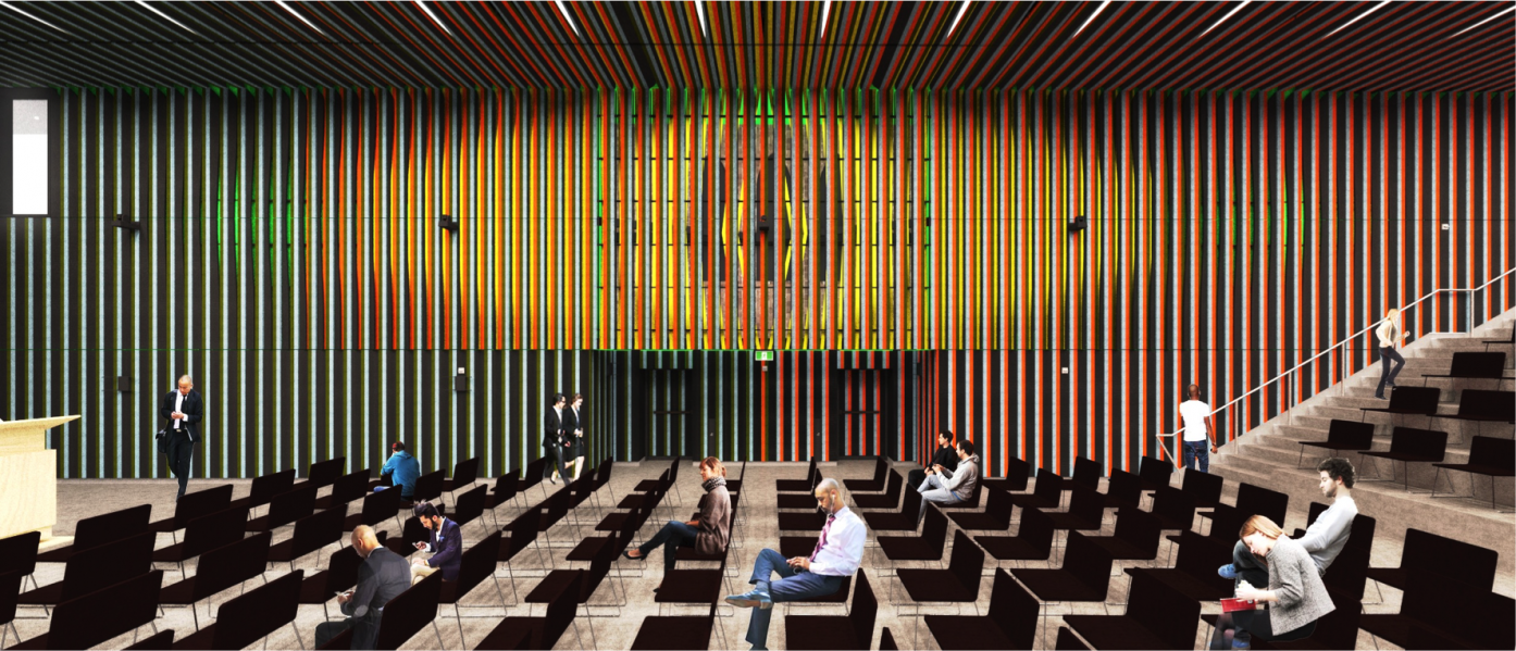 Principal Hall Public Lecture Set-Up. Rendering by NADAAA