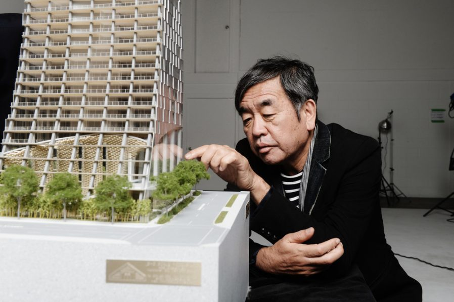 Kengo Kuma with Alberni by Kuma (model). Photo credit: Dennis Gocer, The Collective You