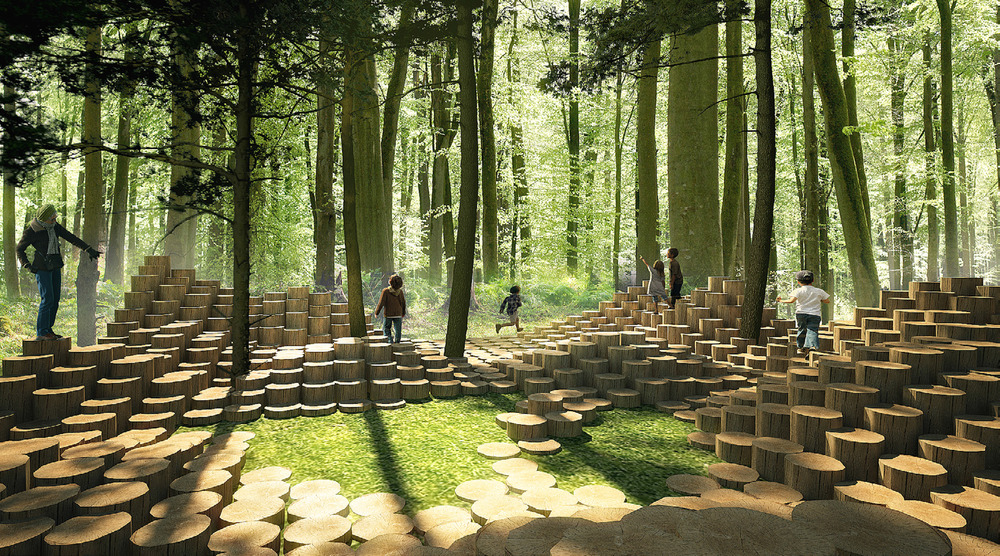 THE WOODSTOCK by Atelier Yok-Yok [Steven Fuhrman, Samson Lacoste & Luc Pinsard, architects, Laure Qarémy, teacher & Pauline Lazareff, architect engineer], Paris (France) Photo credit: International Garden Festival