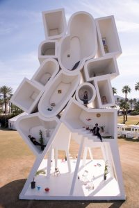 Bureau Spectacular's Tower of Twelve Stories installed at Coachella Music Festival, 2016
