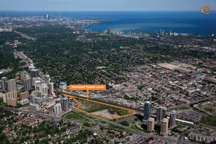 The former Westwood Theatre Lands, the proposed site of the new Etobicoke Civic Centre Precinct and Etobicoke Civic Centre