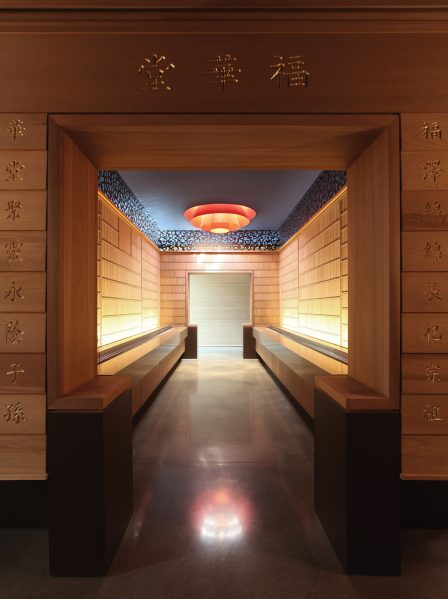 The memorial hall is a bamboo-lined space within the temple, where congregants leave offerings and incense in memory of loved ones.
