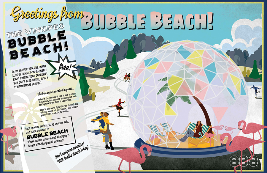 Greetings From Bubble Beach, by Team 888, will include deck chairs, flamingos, and a leaning palm tree inside a transparent geodesic done. Courtesy The Forks
