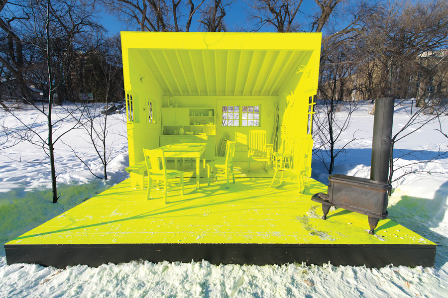 Conveying a sense of contemporary coziness, the fluorescent yellow Hygge House is a winning entry from the 2013 competition by Manitoba firms Plain Projects, URBANINK, and Pike Projects. Courtesy The Forks