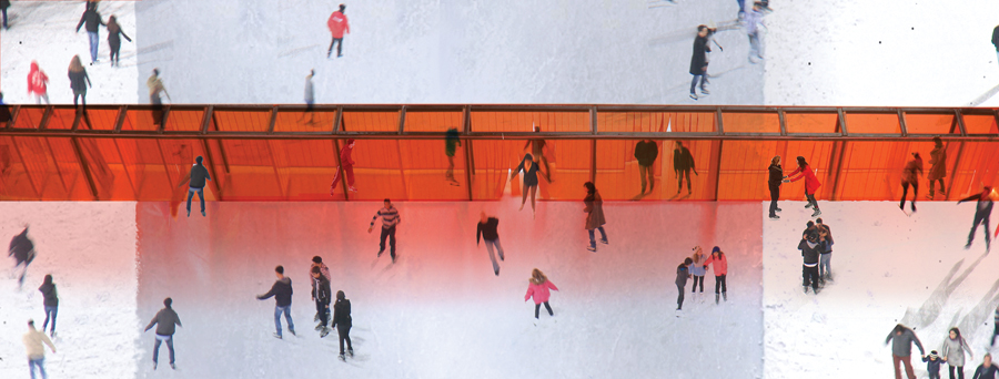 Joyce de Grauw and Paul van den Berg's Open Border will create a permeable barrier across the ice. Courtesy The Forks