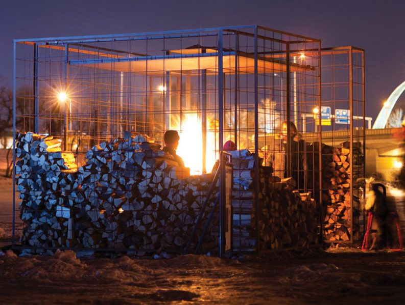 Woodpile, which debuted in the 2011 festival, was designed by Tel Aviv architects Noa Biran and Roy Talmon as a place for setting up a fire. Courtesy The Forks