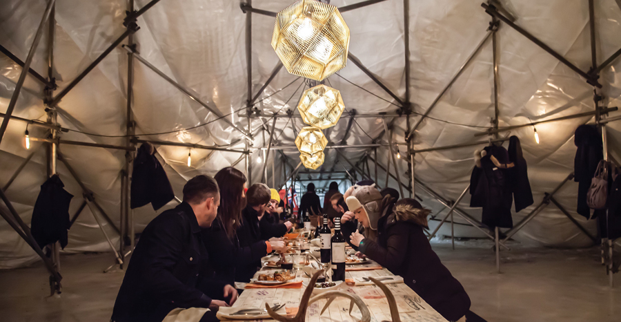 RAW:Almond is a competition-designed dining pavilion on the frozen river. Photo: Jacqueline Young