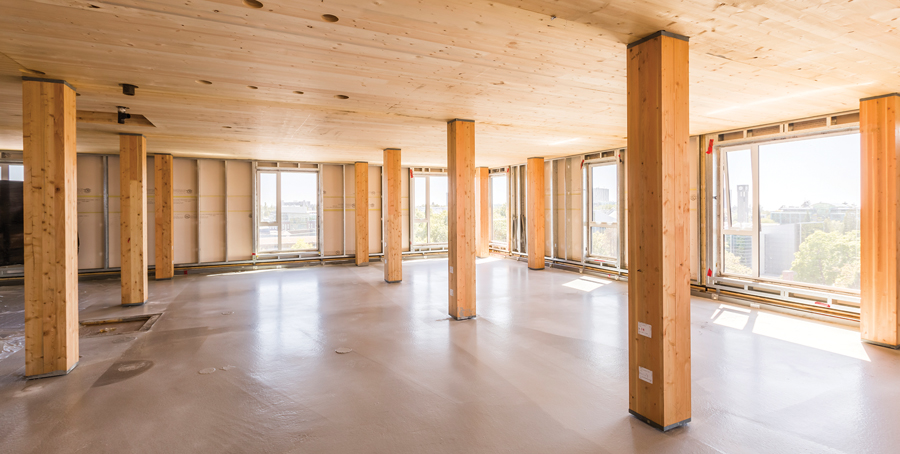 A typical floor, as seen before the glulam and CLT were encapsulated with drywall to facilitate the approvals process. Photo: Steve Enrico, Courtesy of Naturally:Wood.