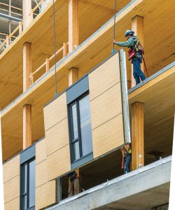 Prefabricated façade panels, including windows, helped speed the construction process. Photo: Acton Ostry Architects Inc. and University of British Columbia.