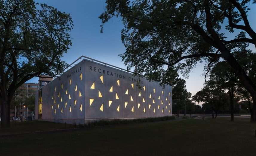 Precast insulated concrete panels are used to create a lively, lantern-like façade on BridgmanCollaborative Architecture's Mayfair Recreation Centre in Winnipeg