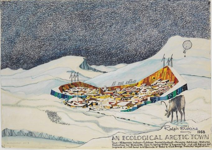 Ralph Erskine's 1958 sketch for a prototype arctic walled city, later developed for Resolute Bay, Northwest Territories (now Nunavut). ARKITEKTUR- OCH DESIGNCENTRUM (STOCKHOLM) ARKM.1986-17-0362, Photo: Arkdes