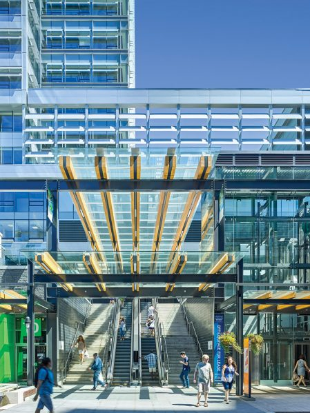 The Skytrain station is accessed from elevators, escalators and stairs that spill into Marine Gateway's main plaza. Photo: Andrew Latreille