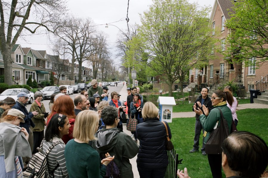 Little Free Libraries: An Impromptu Reading Walk With Neighbours, Jane's Walk Festival 2016, Toronto. Photo by Margaux Yiu.