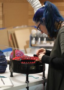 Katherine Soucie experimented with circular knitting looms during her residency. Photo: HCMA