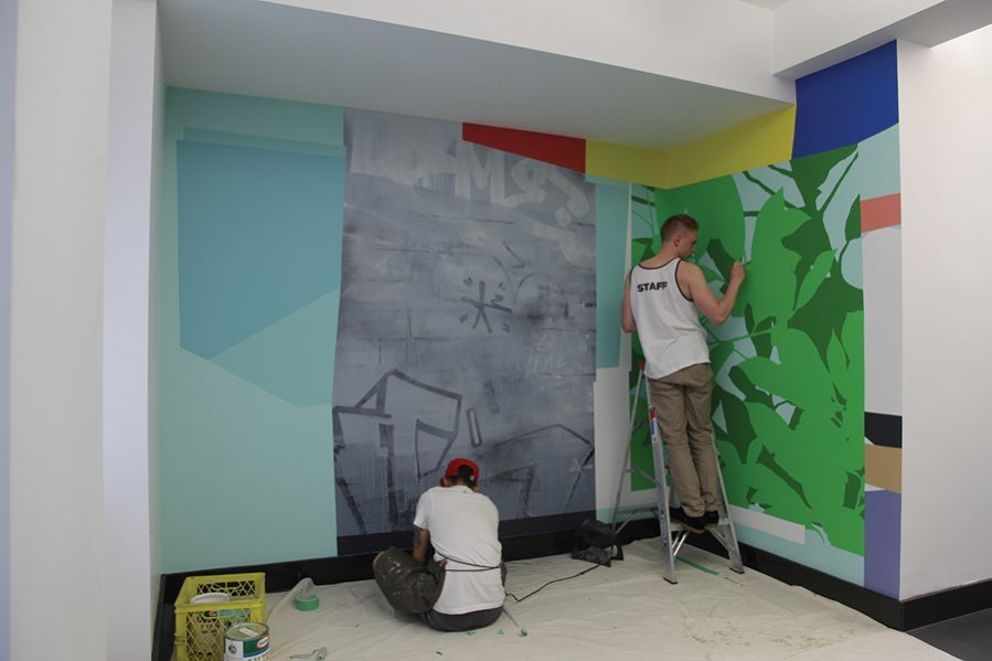 Scott Sueme and Michael Rozen at work on the Connections mural at the HCMA studio. Photo: HCMA
