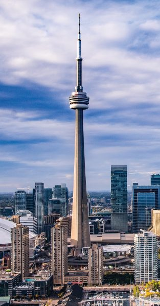 The CN Tower as it rises above downtown Toronto today. Photo: Nancy Rose